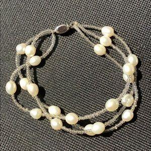 Jewelry - 3 STRAND PEARL & SEED BEAD BRACELET 18K GP CLASP